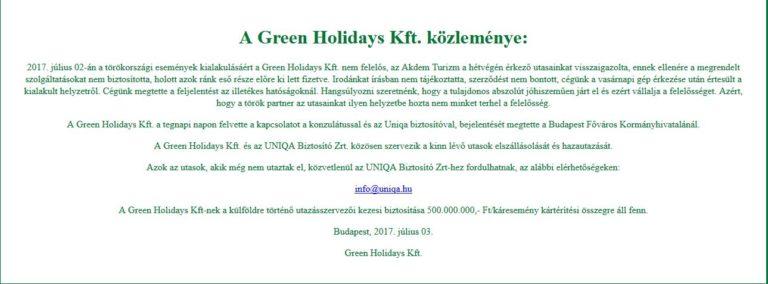 Green Holidays: lassan elfogy a kártalanítási keret