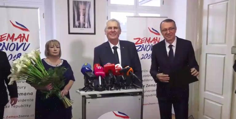 A cseh államfő a feleségének köszönheti, hogy újra indulhat az elnökválasztásokon