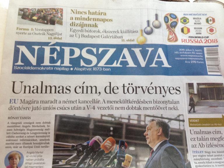 """""""Unalmas"""" címlappal tiltakozik a Népszava"""